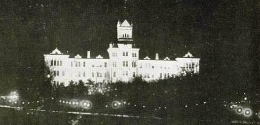 Old Main Floodlit.Nov 28 1916.