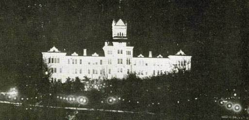 Old Main Floodlit.Nov 28 1916.