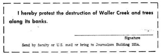DT Oct 22 1969.Waller Creek Protest slip