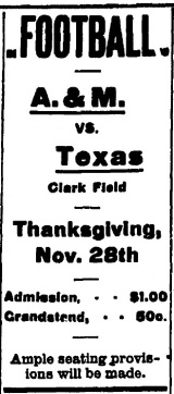 1907 UT AMC.Thanksgiving Football Ad