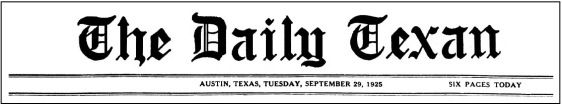 Daily Texan Masthead.Sept 29 1925