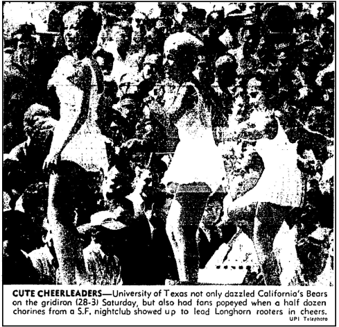 UPI Image.Texas Cal Cheerleaders.1961