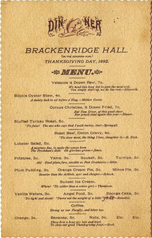 1892 B Hall Menu