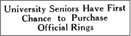 1927 Senior Ring Headline