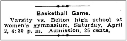 AAS.1904.04.01.Ad for UT vs Belton Game