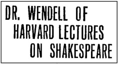 Dr Wendell Lecture