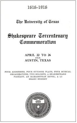 Program Cover.Shakespeare Tercentary