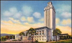 3.UT Library.Main Building and Tower.1930s Postcard.
