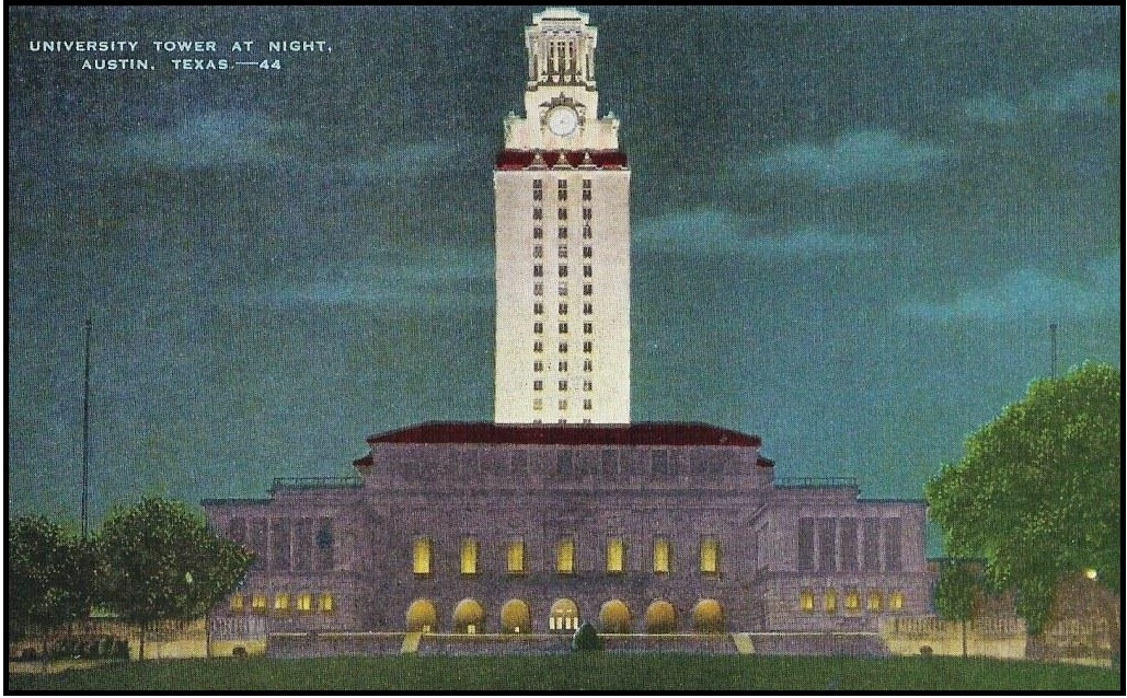 43.1940.UT Tower at night.postcard.
