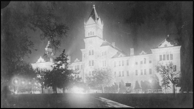 9.1923 Thanksgiving Eve.Old Main floodlit.